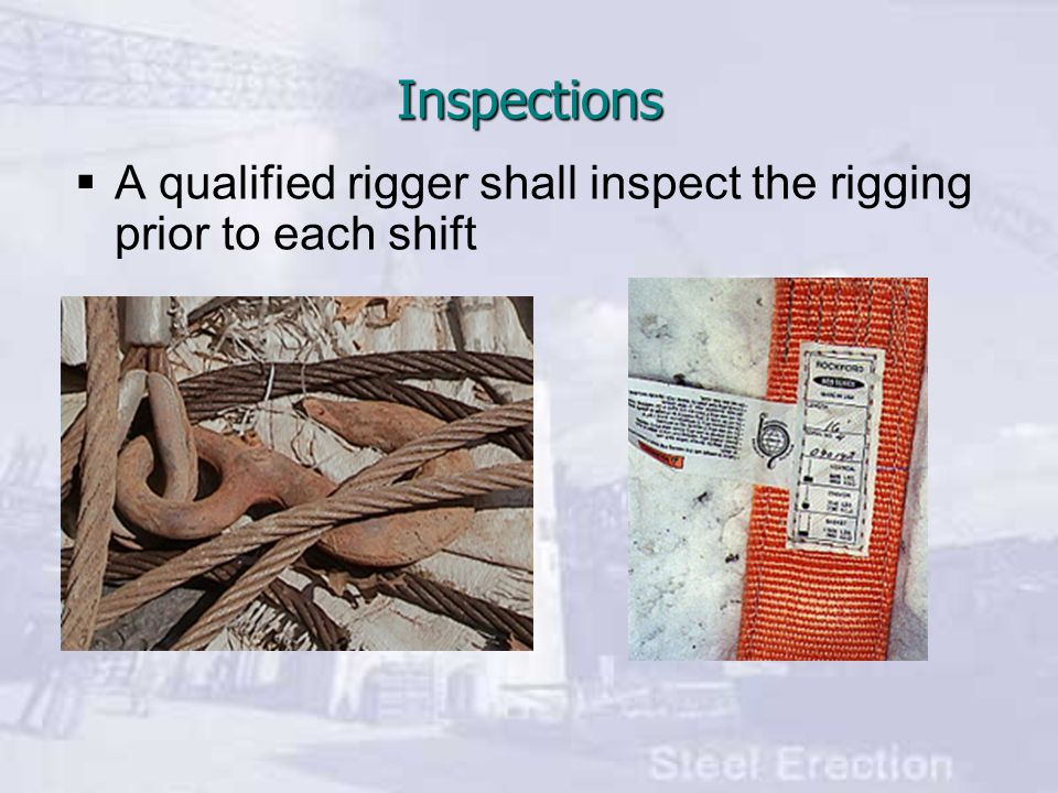 Inspections A qualified rigger shall inspect the rigging prior to each shift