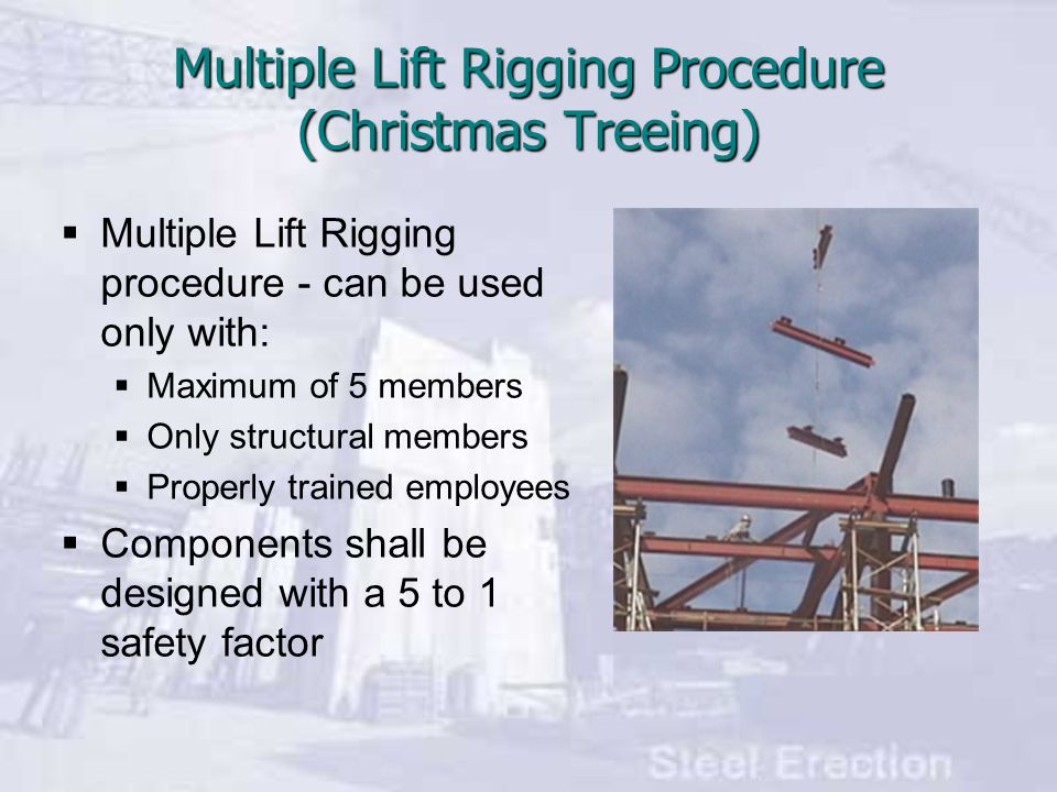 Multiple Lift Rigging Procedure (Christmas Treeing)