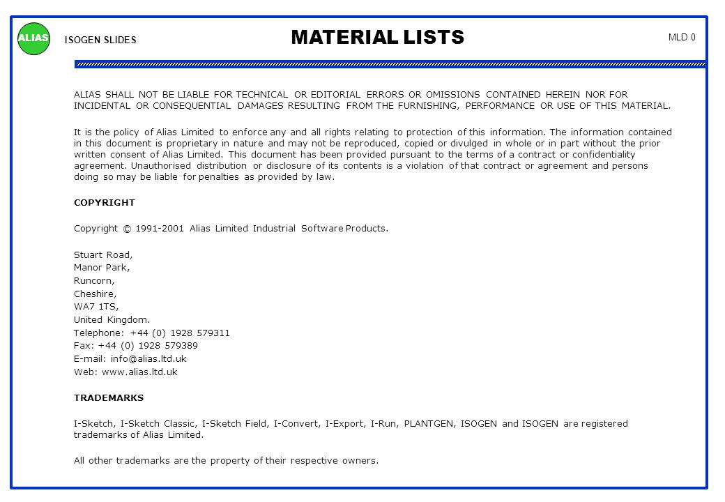 Material Lists Summary