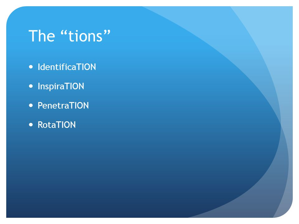 The tions IdentificaTION InspiraTION PenetraTION RotaTION