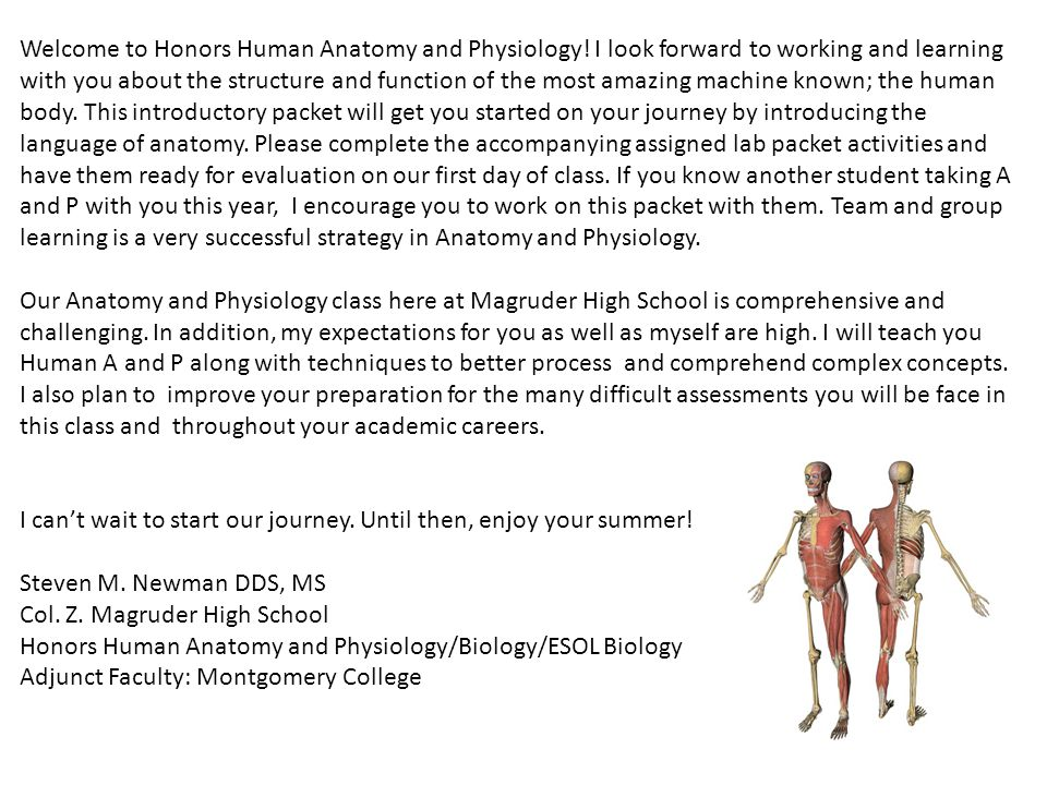 Col. Z. Magruder High School Honors Human Anatomy and Physiology ...