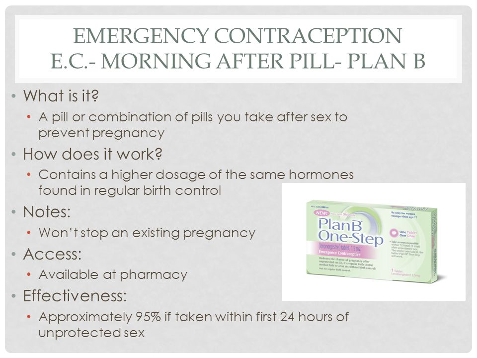 Emergency contraception E.C.- Morning After Pill- Plan B