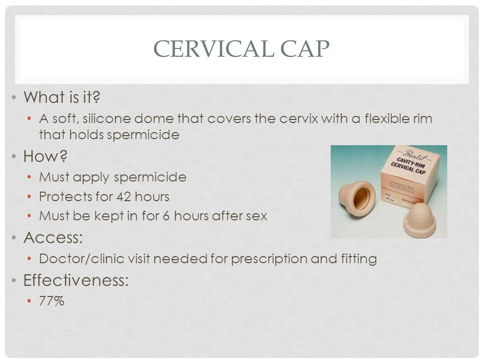 Cervical cap What is it How Access: Effectiveness: