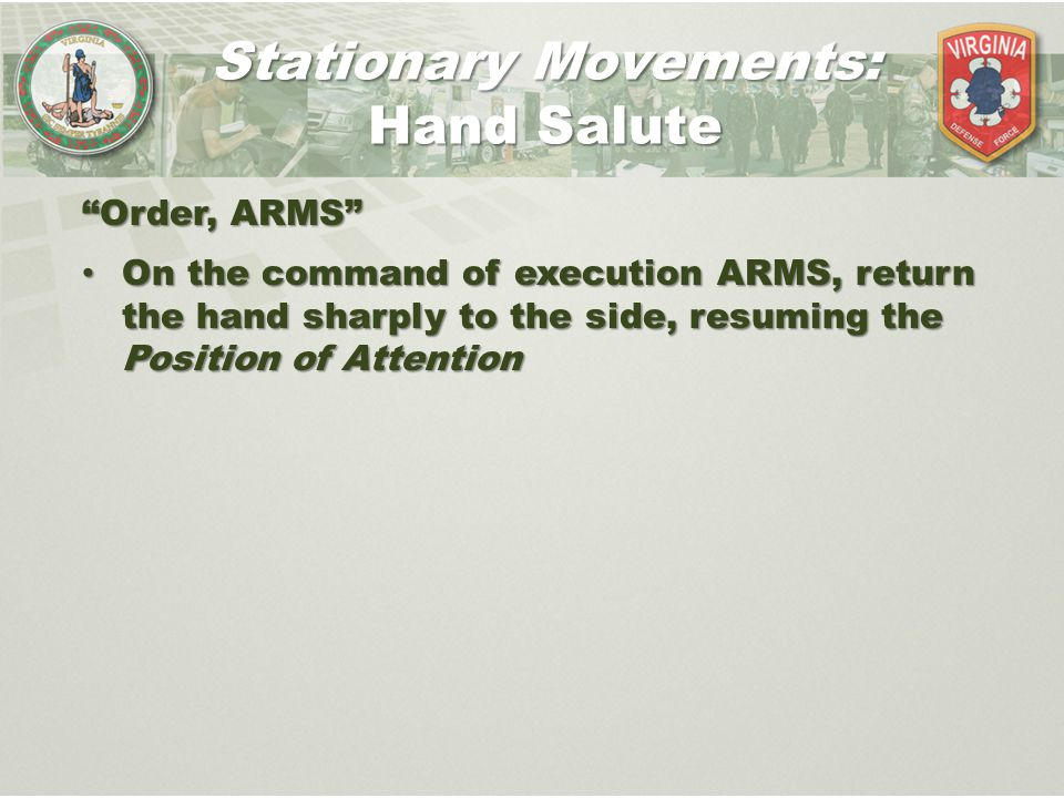 Stationary Movements: Hand Salute