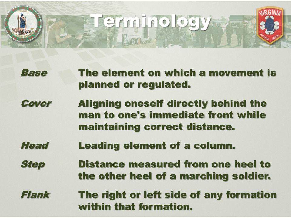 Terminology Base The element on which a movement is planned or regulated.