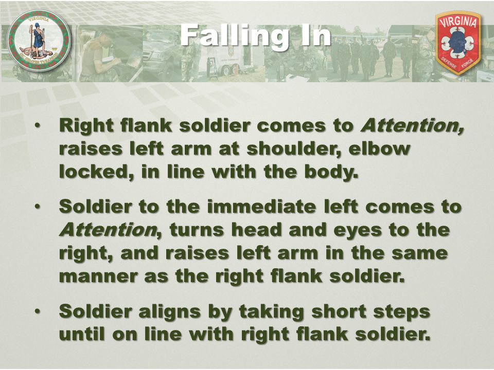 Falling In Right flank soldier comes to Attention, raises left arm at shoulder, elbow locked, in line with the body.