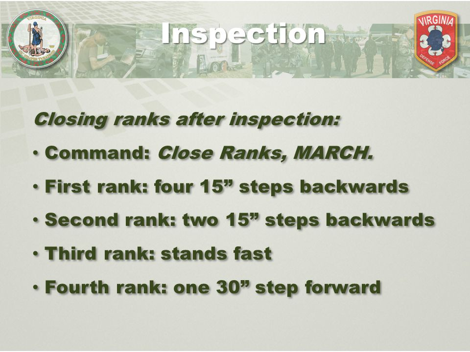 Inspection Closing ranks after inspection: