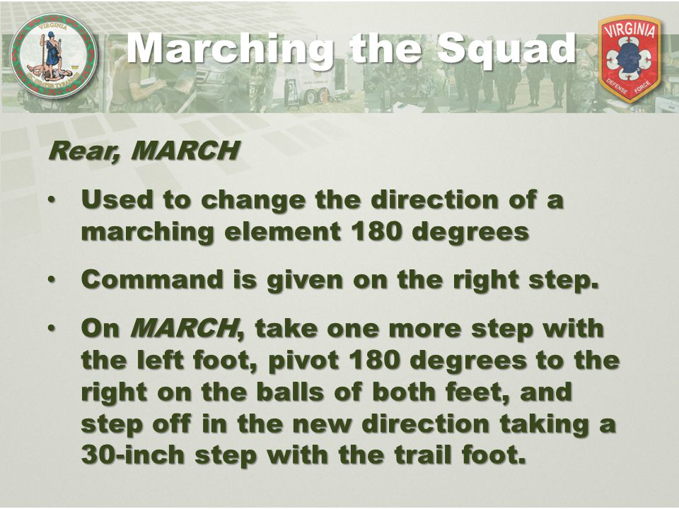Marching the Squad Rear, MARCH