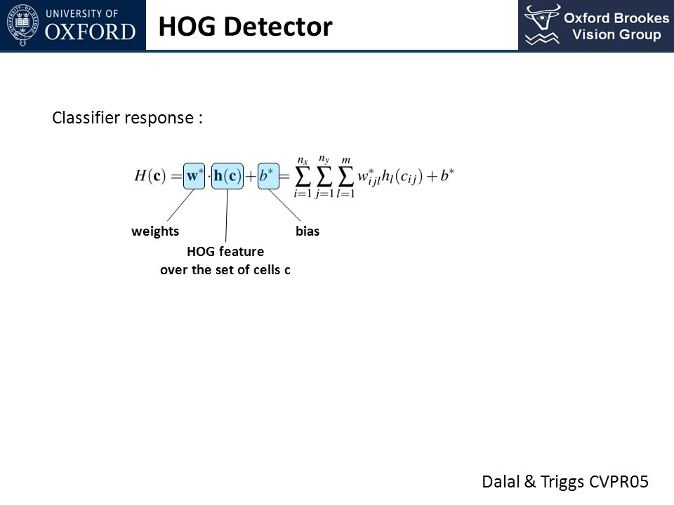 HOG Detector Classifier response : Dalal & Triggs CVPR05 weights bias