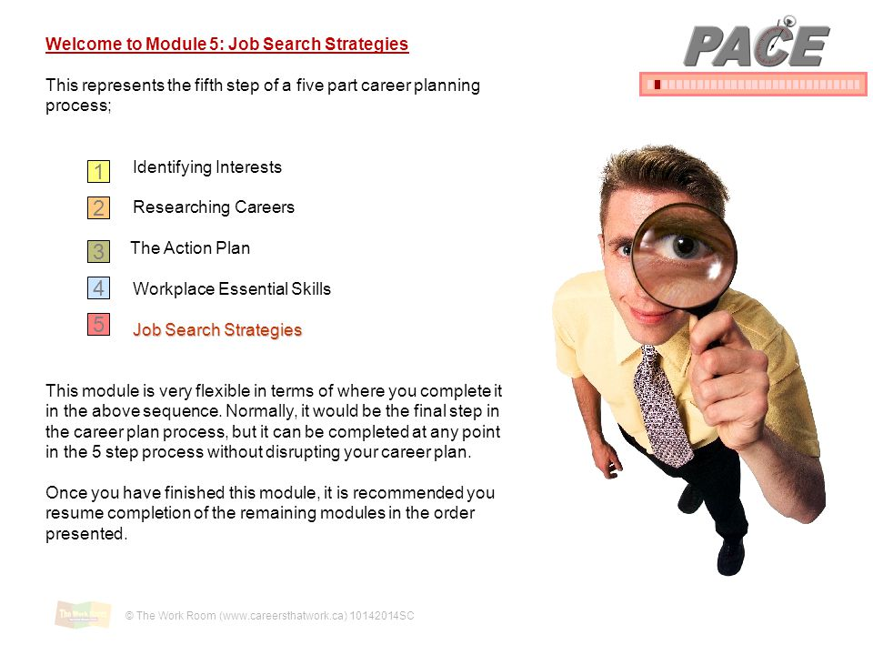 pace 1 2 3 4 5 welcome to module 5 job search strategies
