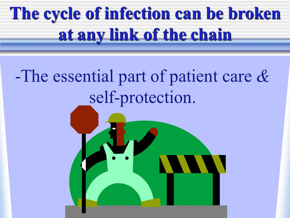 The cycle of infection can be broken at any link of the chain