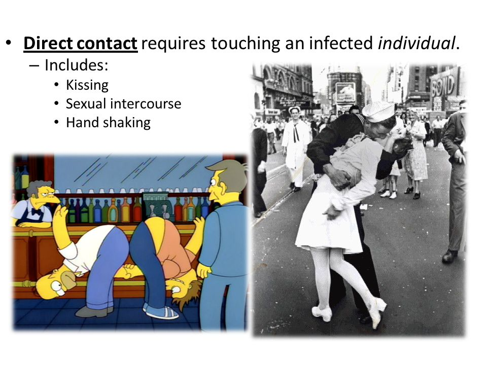 Direct contact requires touching an infected individual.