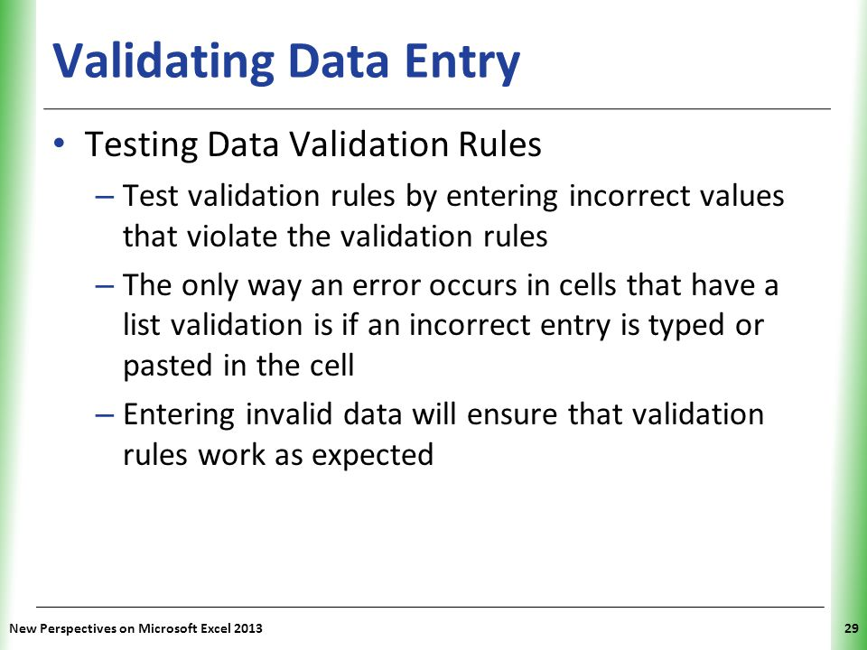 Validating Data Entry Testing Data Validation Rules