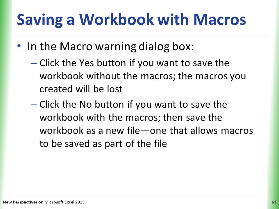 Saving a Workbook with Macros