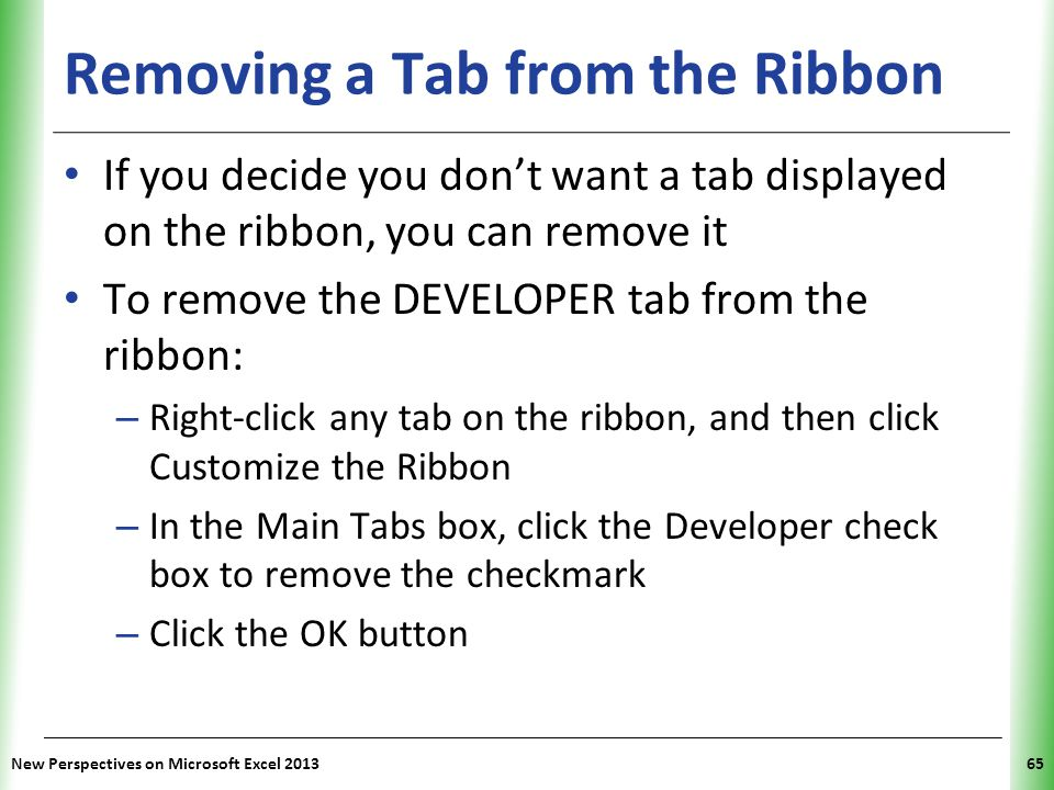 Removing a Tab from the Ribbon