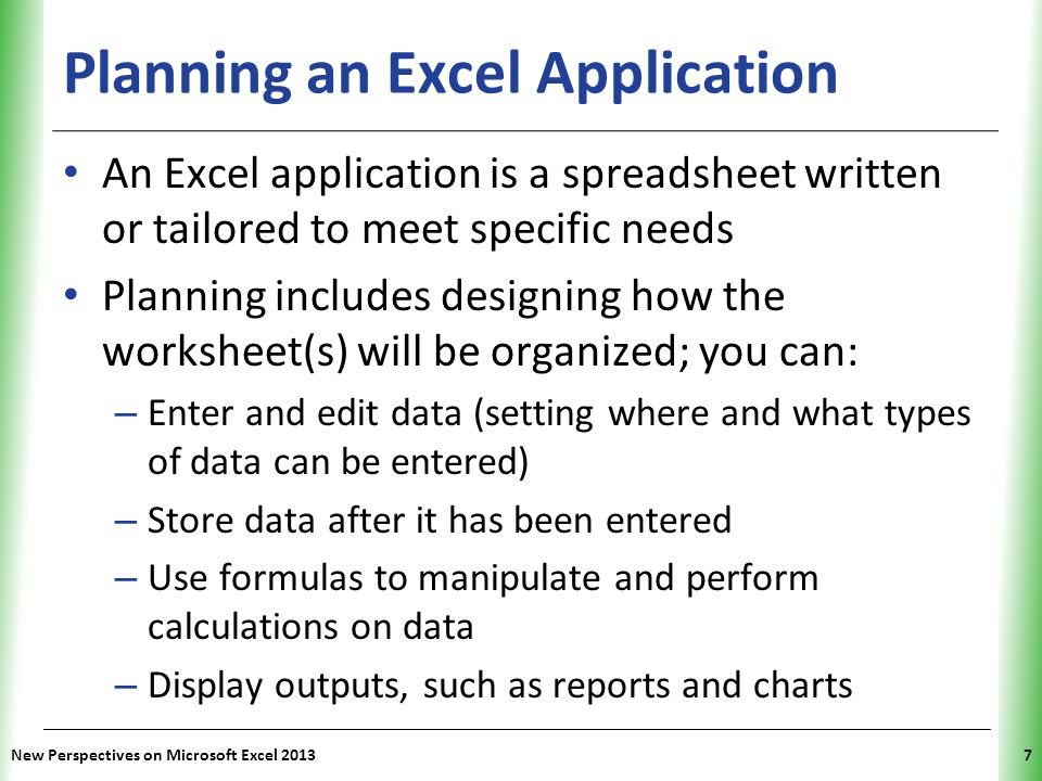 Planning an Excel Application