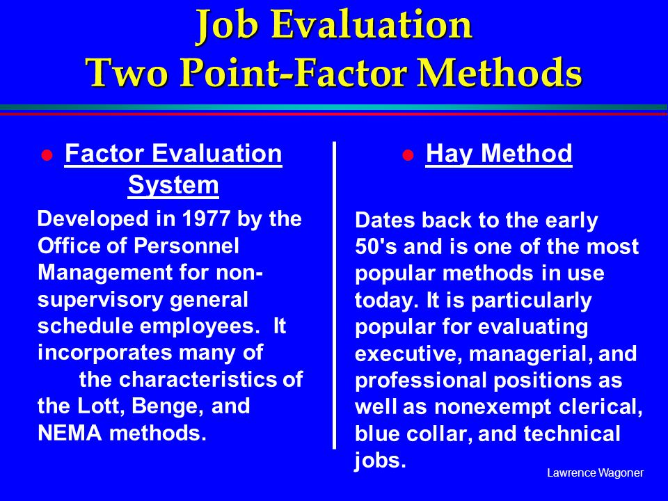 Job Evaluation Two Point Factor Methods Ppt Video Online