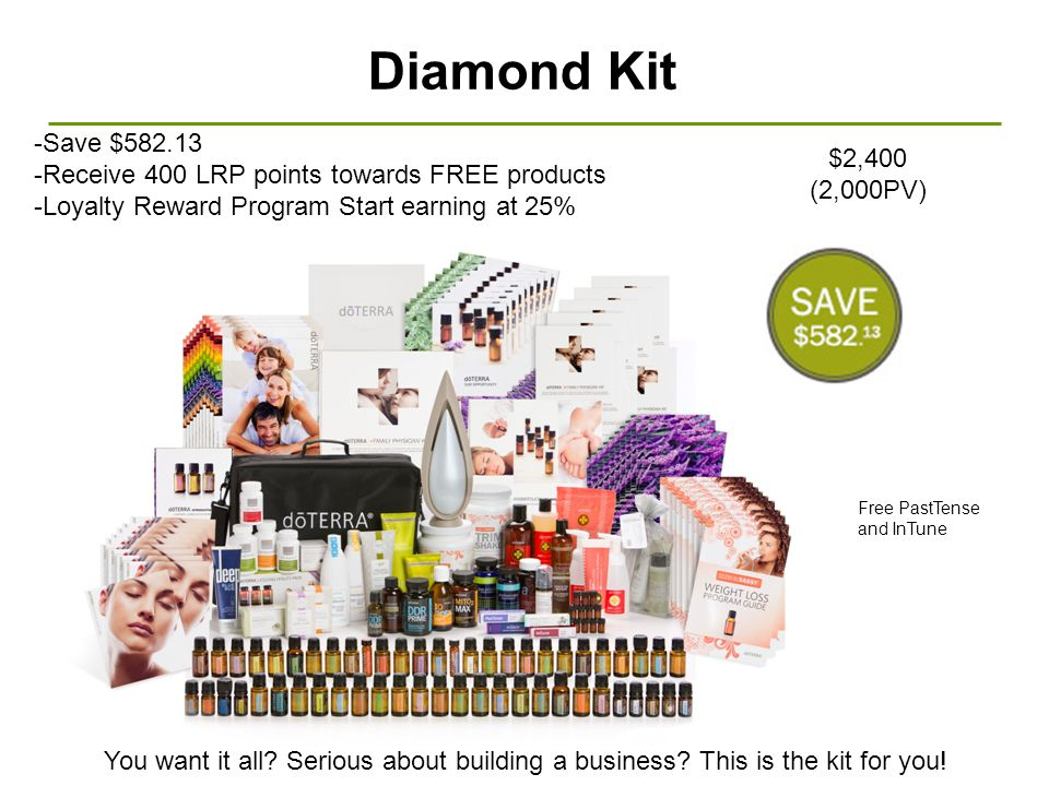 Diamond Kit -Save $ Receive 400 LRP points towards FREE products. -Loyalty Reward Program Start earning at 25%