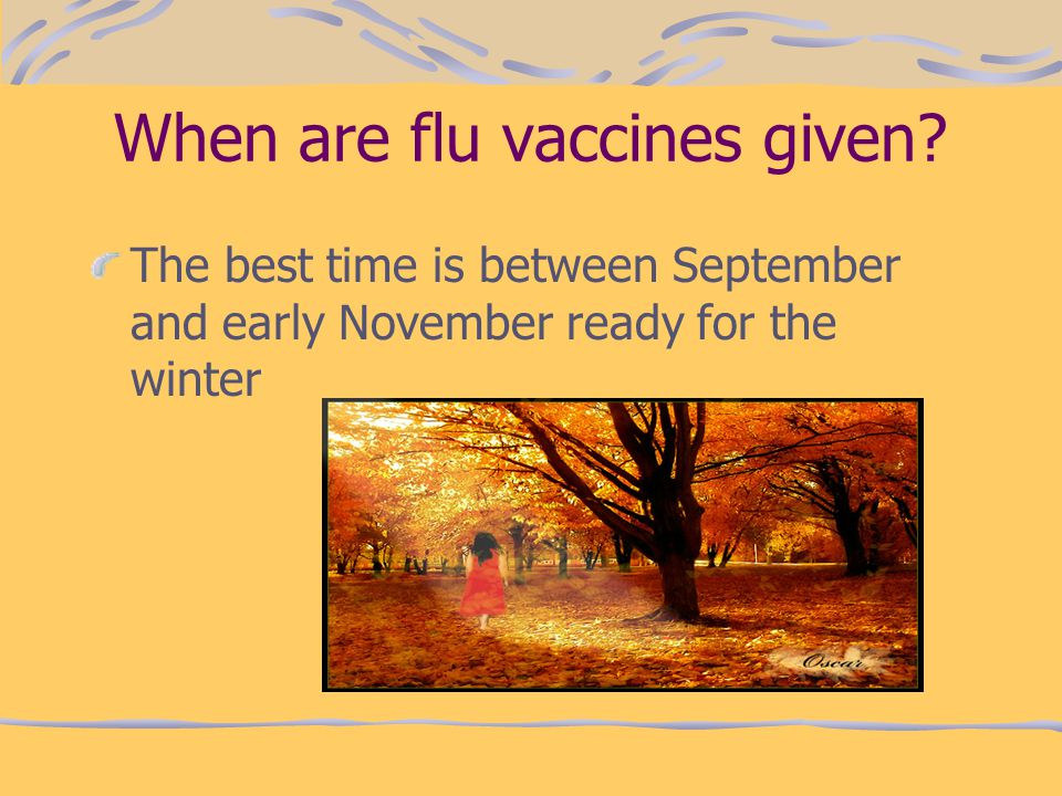 When are flu vaccines given