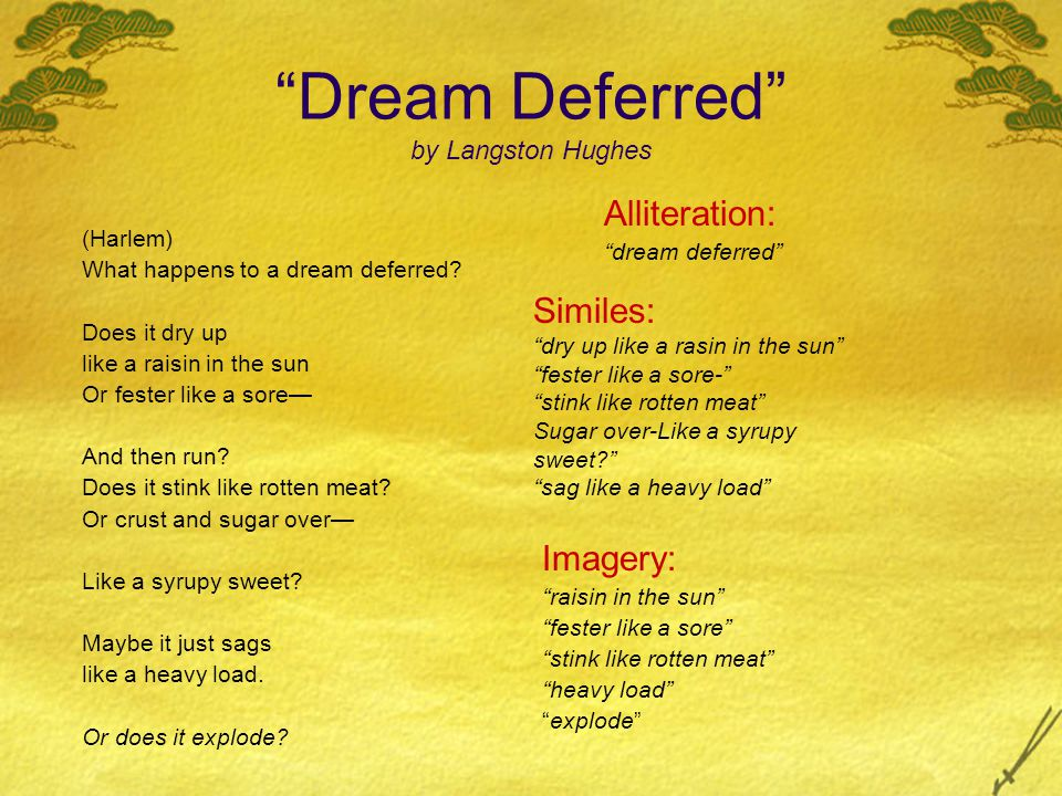 Dream Deferred by Langston Hughes