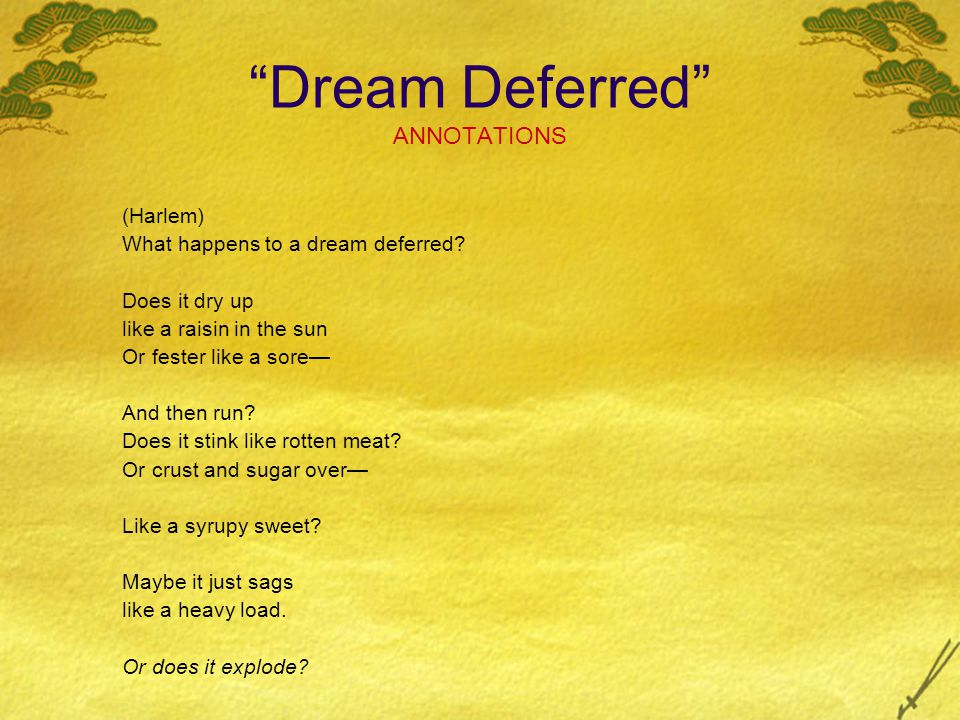 a study on the effects of a dream deferred The dream of equality had been deferred, and the deeper message of the poem is that leaving that dream deferred will have consequences not just for the dreamers but for those denying the dream.