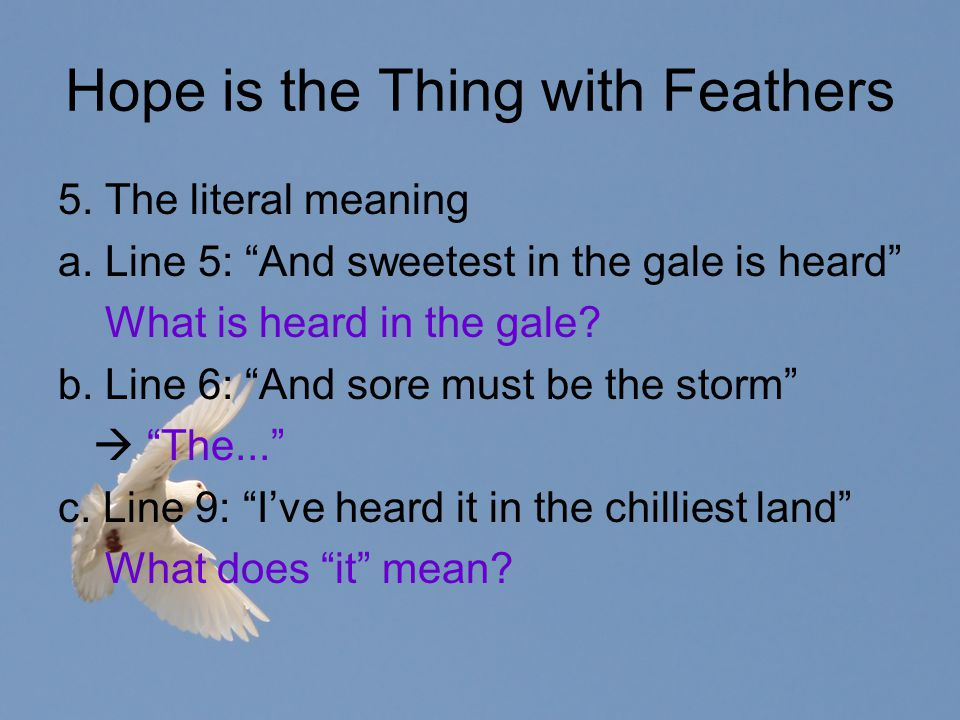 Poem Analysis Hope Is The Thing With Feathers Ppt Video Online