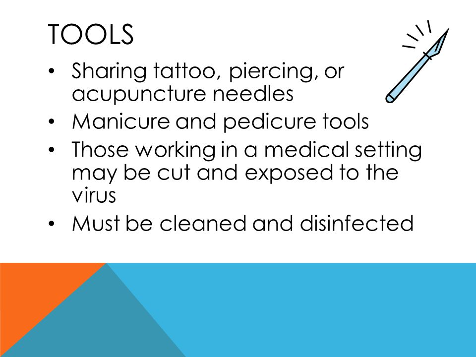 Tools Sharing tattoo, piercing, or acupuncture needles