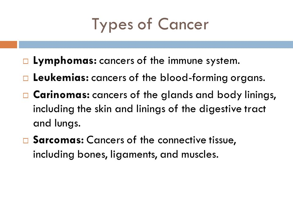 Types of Cancer Lymphomas: cancers of the immune system.