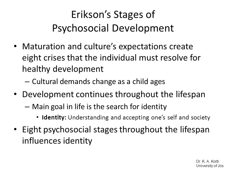 eriksons eight stages of development Erikson's theory proposes eight stages of human development each stage is characterized by a different conflict that must be resolved by the person each stage is characterized by a different conflict that must be resolved by the person.