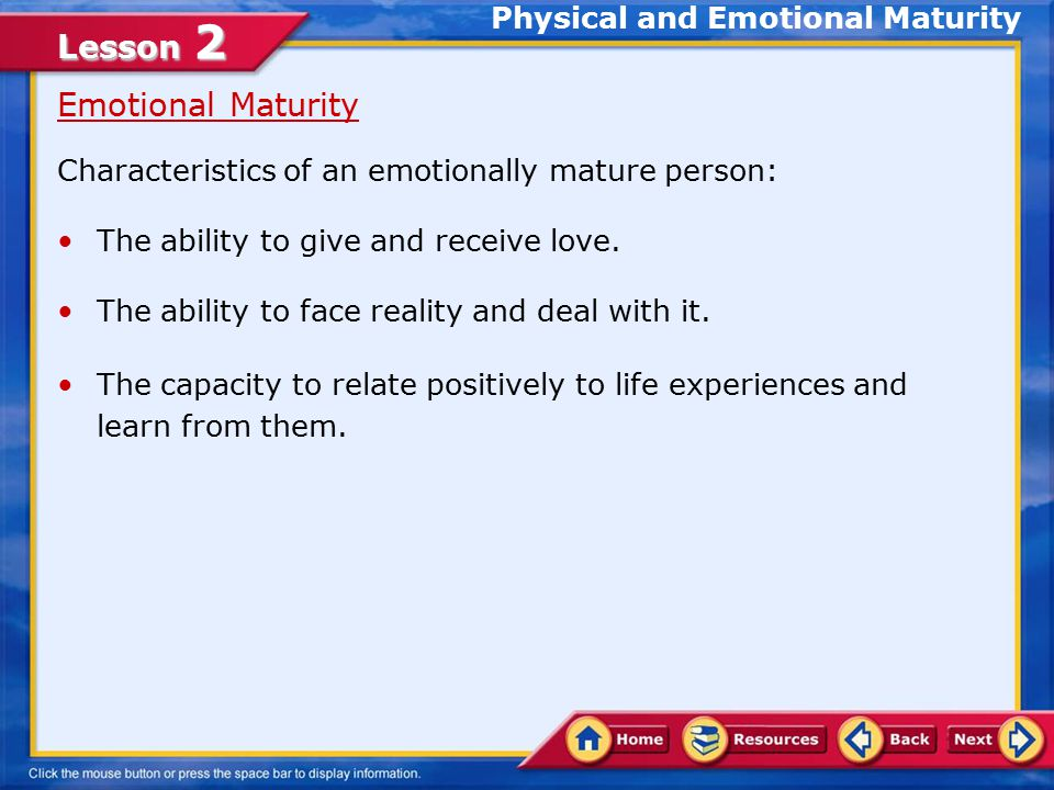 characteristics of emotional maturity