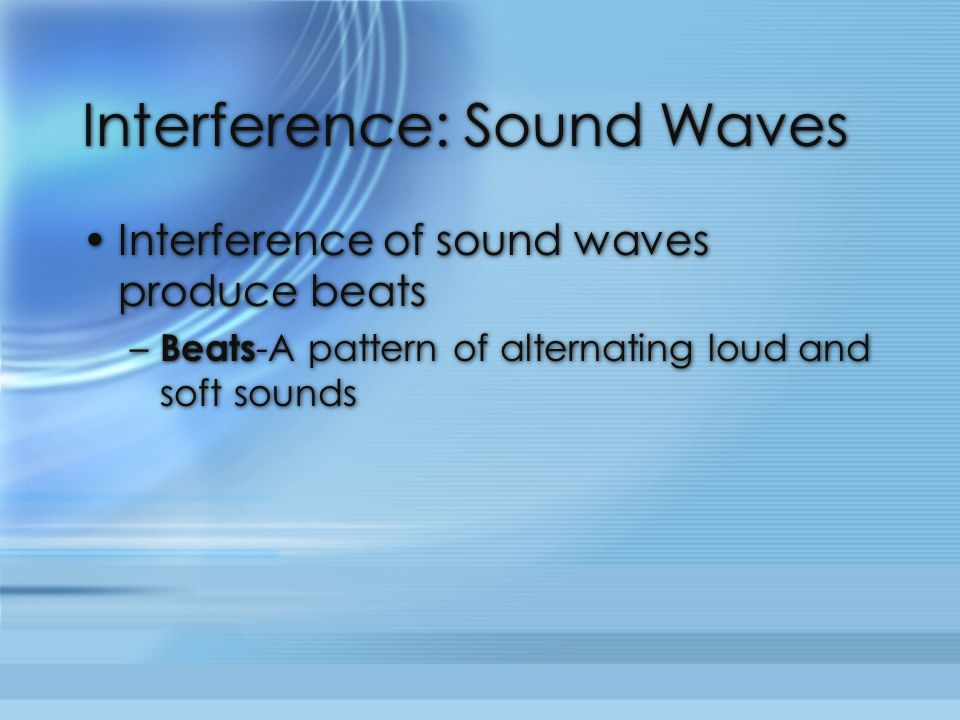 Interference: Sound Waves