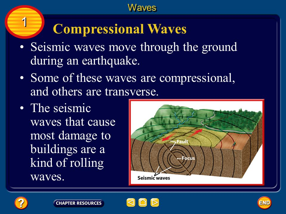Waves 1. Compressional Waves. Seismic waves move through the ground during an earthquake.