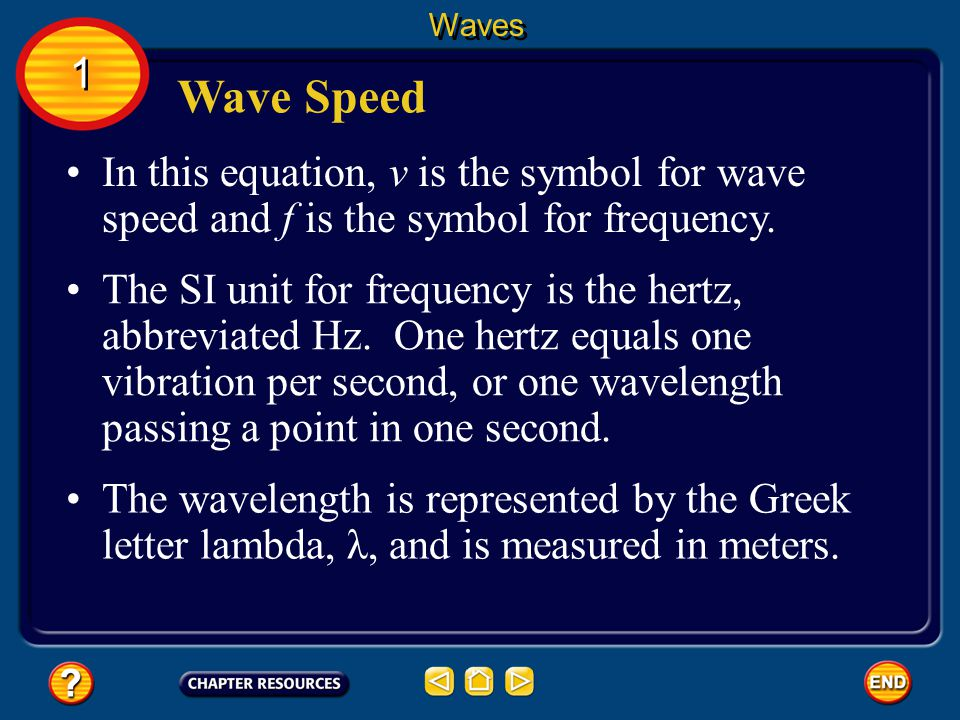 Waves 1. Wave Speed. In this equation, v is the symbol for wave speed and f is the symbol for frequency.