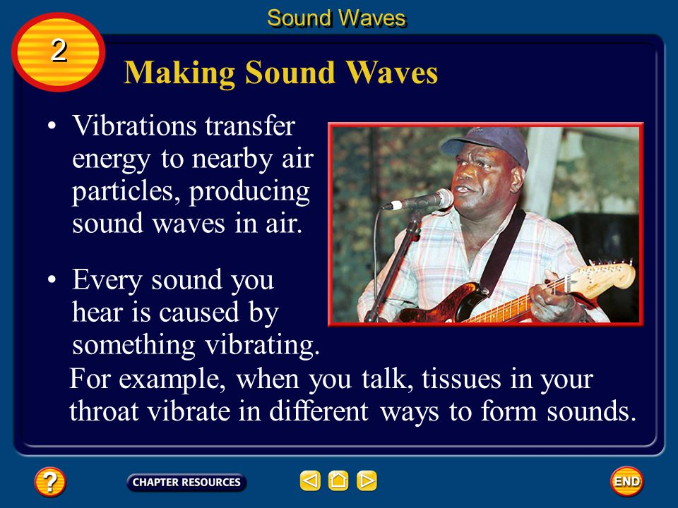 Sound Waves 2. Making Sound Waves. Vibrations transfer energy to nearby air particles, producing sound waves in air.