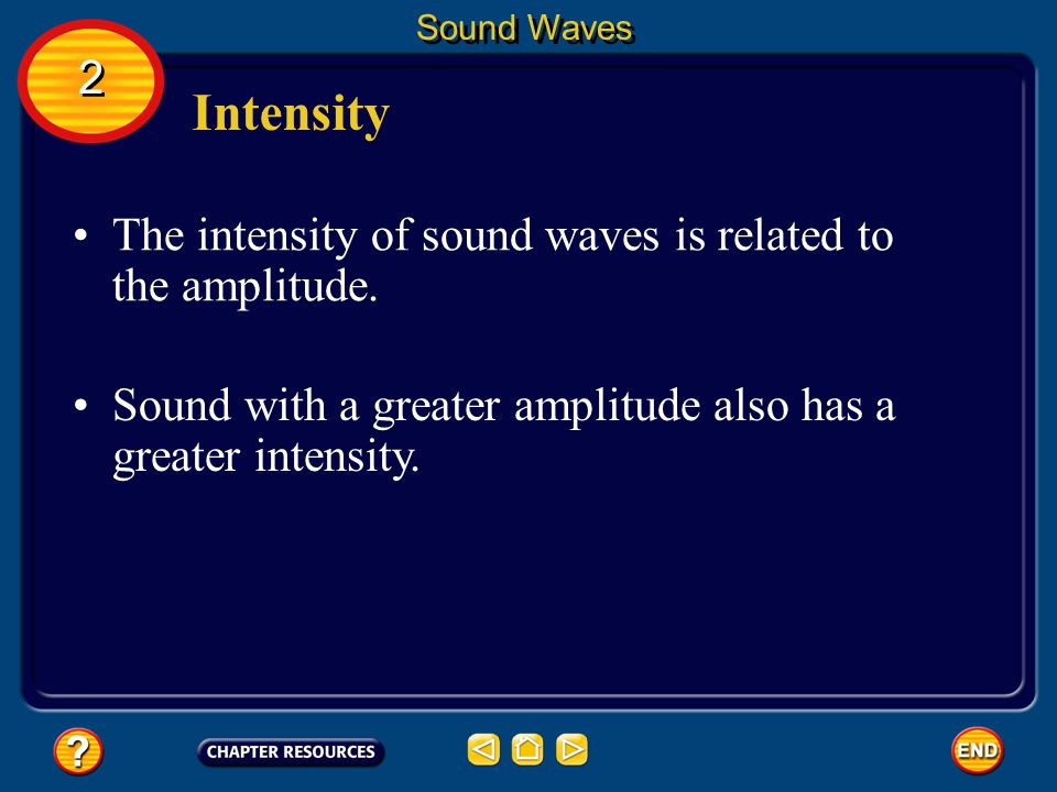 Intensity 2 The intensity of sound waves is related to the amplitude.