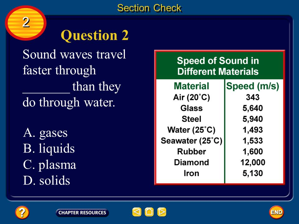Section Check 2. Question 2. Sound waves travel faster through _______ than they do through water.