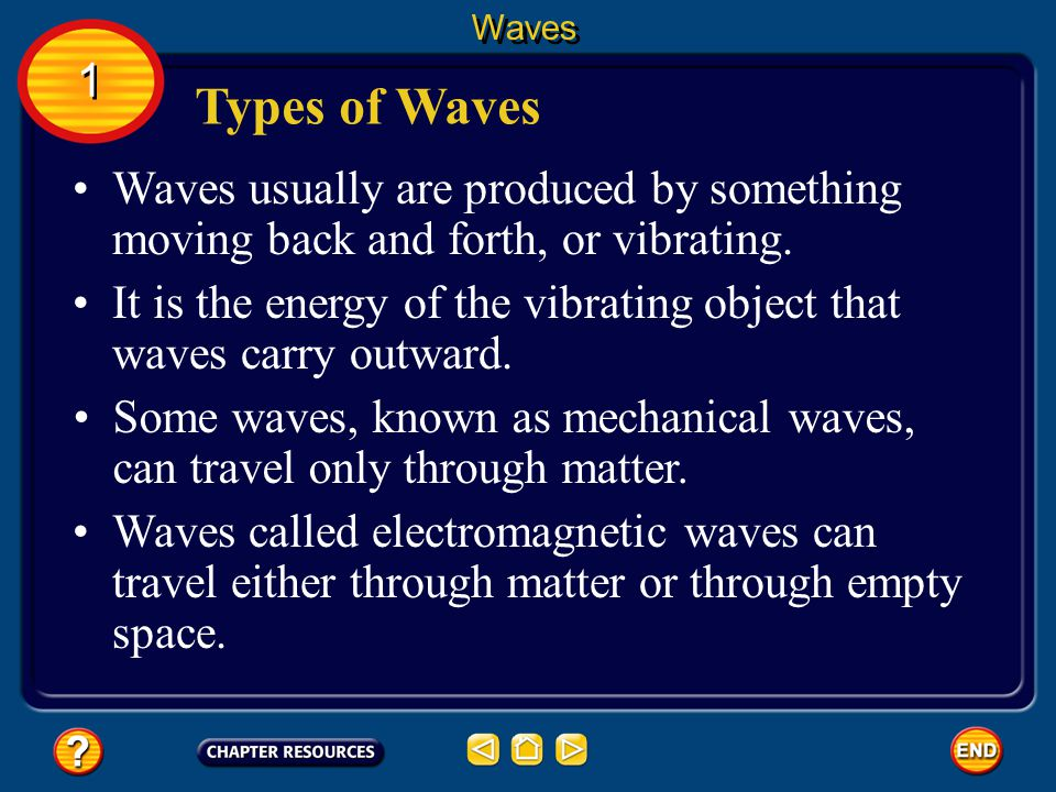 Waves 1. Types of Waves. Waves usually are produced by something moving back and forth, or vibrating.