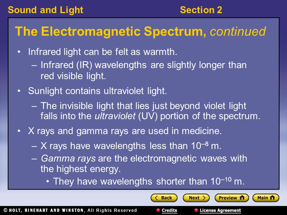 The Electromagnetic Spectrum, continued