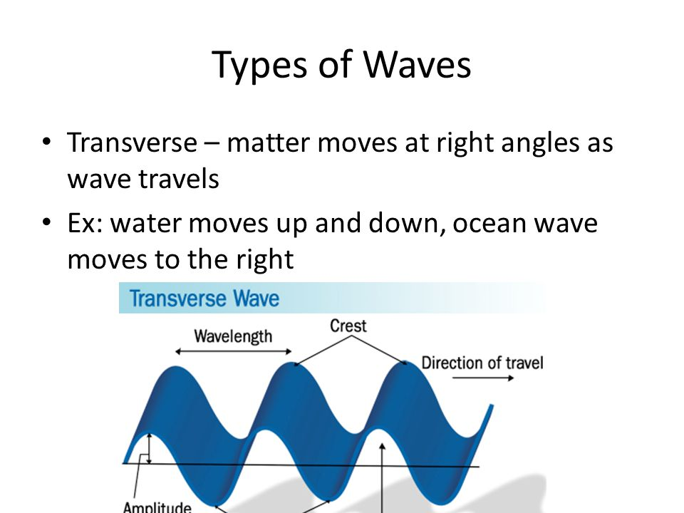 Types of Waves Transverse – matter moves at right angles as wave travels.