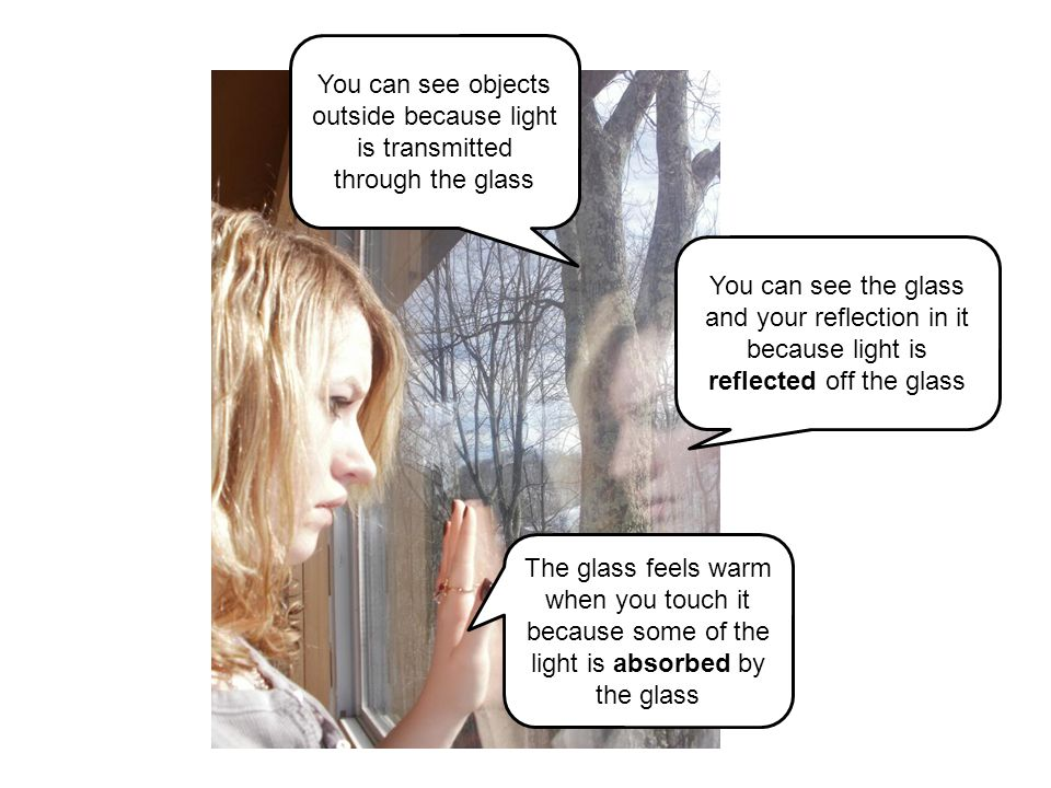 You can see objects outside because light is transmitted through the glass