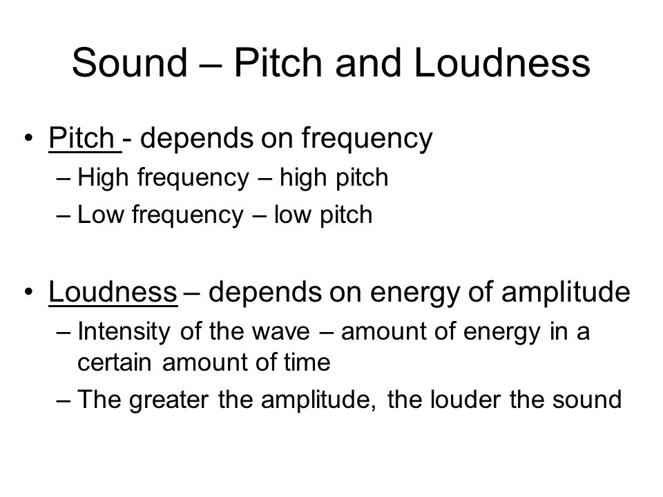 Sound – Pitch and Loudness