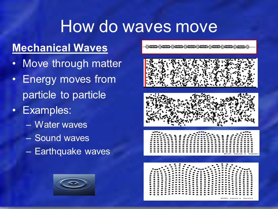 How do waves move Mechanical Waves Move through matter