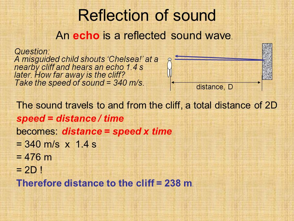 Reflection of sound An echo is a reflected sound wave.