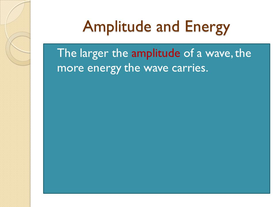 Amplitude and Energy The larger the amplitude of a wave, the more energy the wave carries.