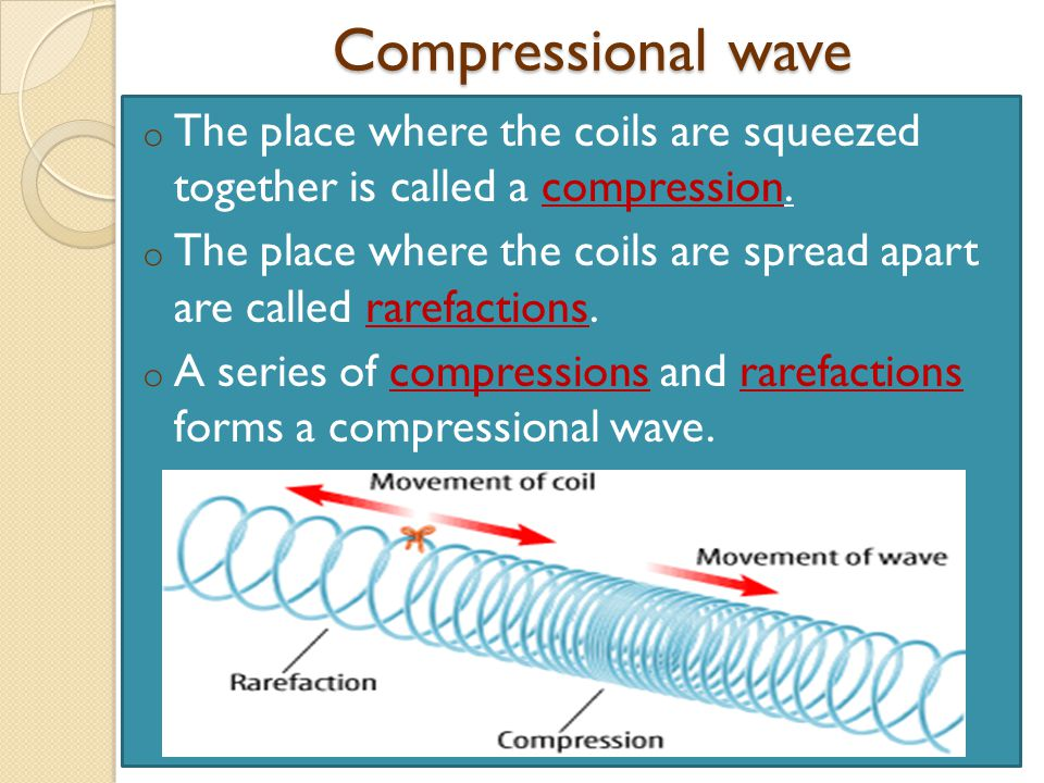 Compressional wave The place where the coils are squeezed together is called a compression.