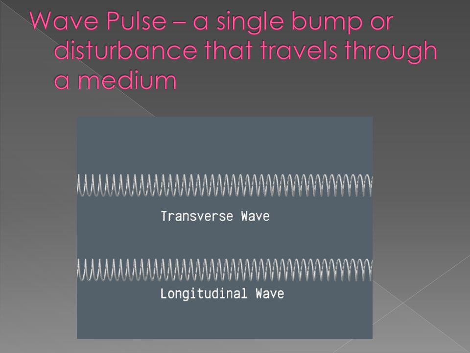 Wave Pulse – a single bump or disturbance that travels through a medium