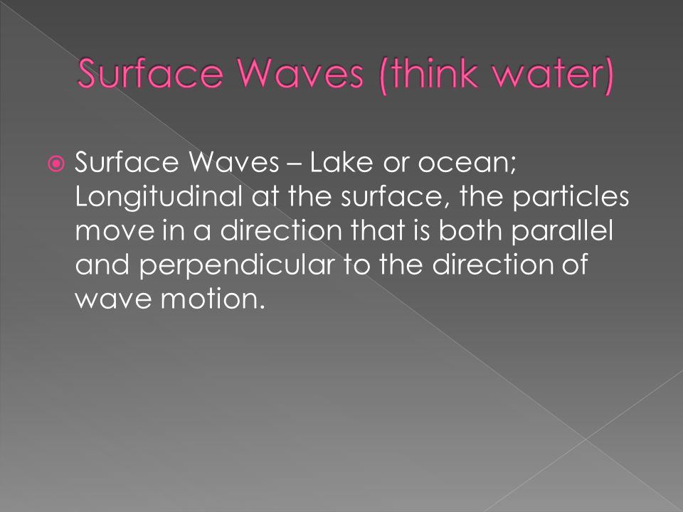 Surface Waves (think water)