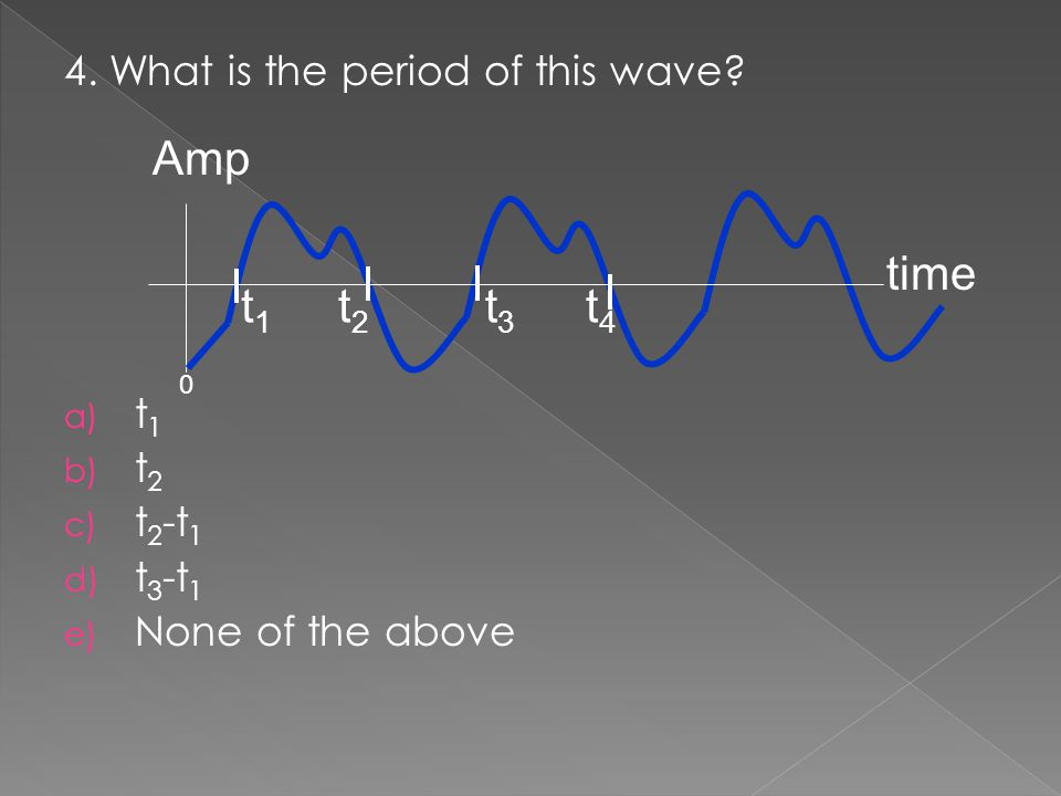 Amp time t1 t2 t3 t4 4. What is the period of this wave t1 t2 t2-t1