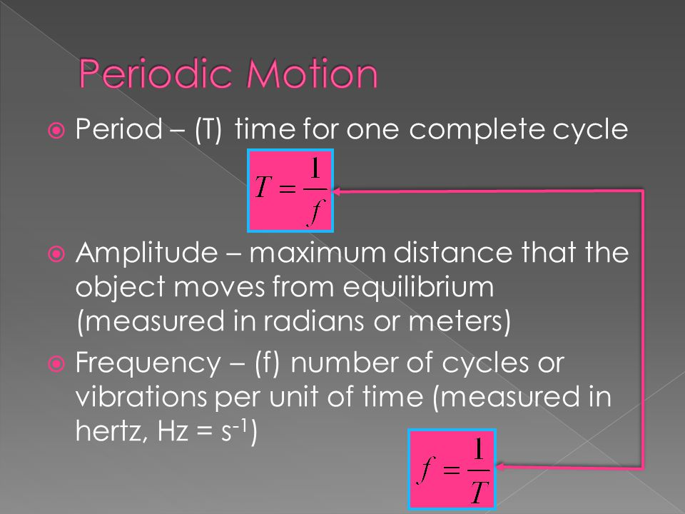 Periodic Motion Period – (T) time for one complete cycle