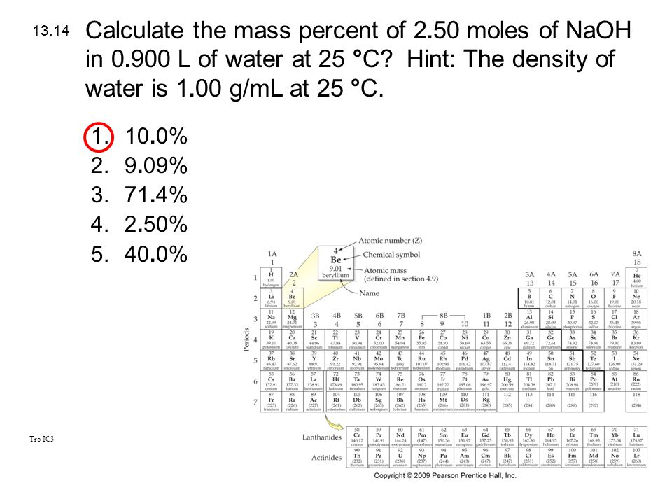 Calculate the mass percent of moles of NaOH in 0